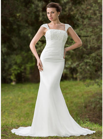 Trumpet/Mermaid Chiffon Sleeveless Square Court Train Wedding Dresses