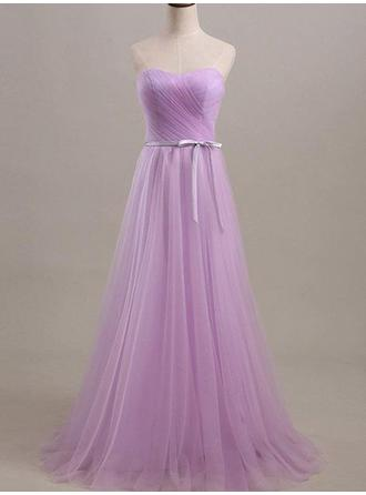 A-Line/Princess Sweetheart Floor-Length Bridesmaid Dresses With Ruffle Sash