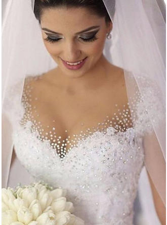 Ball-Gown V-neck Court Train Wedding Dresses With Lace Beading Sequins
