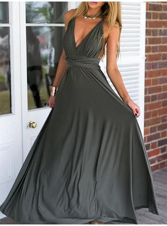 Empire V-neck Floor-Length Prom Dresses With Ruffle