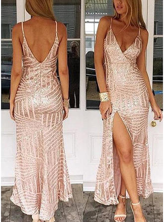 Sheath/Column Floor-Length Prom Dresses V-neck Sequined Sleeveless