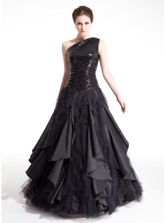 Ball-Gown One-Shoulder Floor-Length Prom Dresses With Ruffle Cascading Ruffles