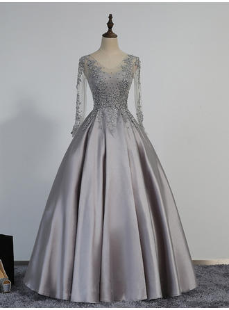Ball-Gown V-neck Floor-Length Evening Dresses With Beading Appliques Lace