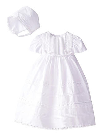 A-Line/Princess Scoop Neck Floor-length Satin Christening Gowns