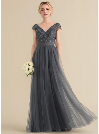 A-Line/Princess V-neck Floor-Length Tulle Lace Bridesmaid Dress With Beading Bow(s)