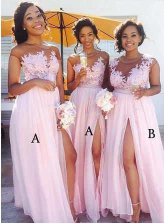 A-Line/Princess Chiffon Lace Bridesmaid Dresses Split Front Scoop Neck Sleeveless Floor-Length