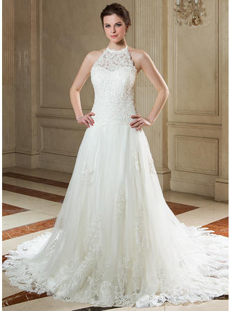A-Line/Princess Halter Court Train Wedding Dresses With Beading Sequins