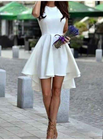 A-Line/Princess Scoop Neck Short/Mini Asymmetrical Homecoming Dresses With Ruffle