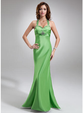 Empire Floor-Length Prom Dresses Halter Charmeuse Sleeveless