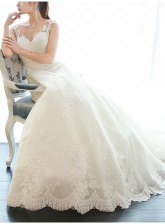 Simple V-neck A-Line/Princess Wedding Dresses Court Train Tulle Sleeveless