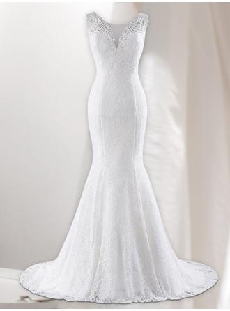 Trumpet/Mermaid V-neck Sweep Train Wedding Dresses With Lace