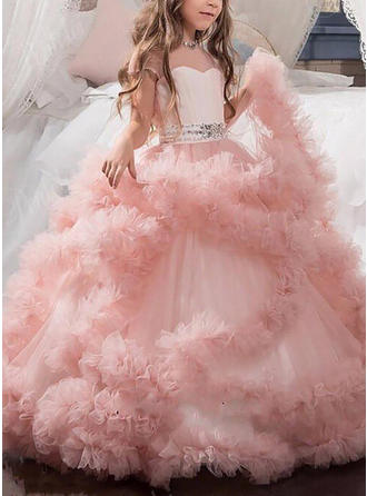 Ball Gown Sweetheart Floor-length With Sash/Beading Tulle Flower Girl Dresses