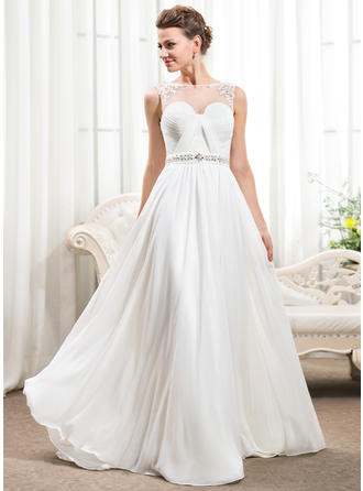 Stunning Scoop A-Line/Princess Wedding Dresses Court Train Chiffon Sleeveless