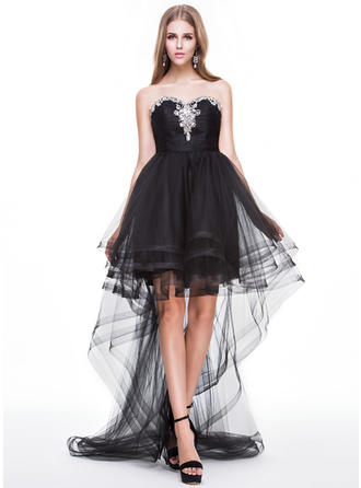 A-Line/Princess Sweetheart Asymmetrical Prom Dresses With Ruffle Beading Sequins