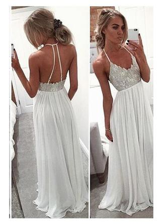 Princess Chiffon Prom Dresses A-Line/Princess Floor-Length V-neck Sleeveless