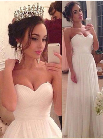 A-Line/Princess Sweetheart Floor-Length Wedding Dresses With Ruffle