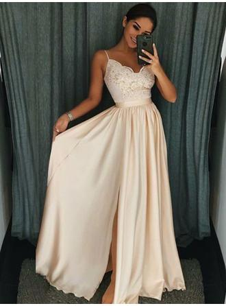 A-Line/Princess V-neck Floor-Length Prom Dresses With Ruffle Appliques Split Front