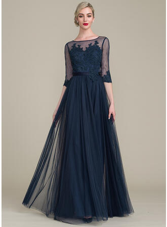 A-Line/Princess Scoop Neck Floor-Length Tulle Lace Mother of the Bride Dress