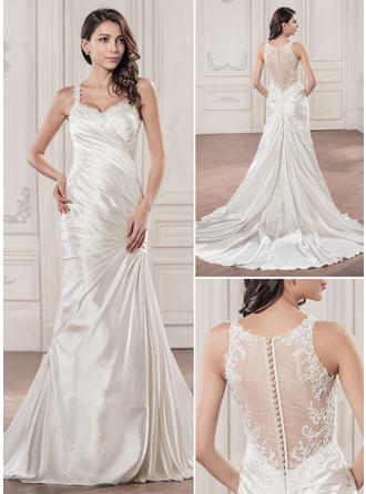 Trumpet/Mermaid Sweetheart Chapel Train Wedding Dresses With Ruffle Beading Appliques Lace Sequins