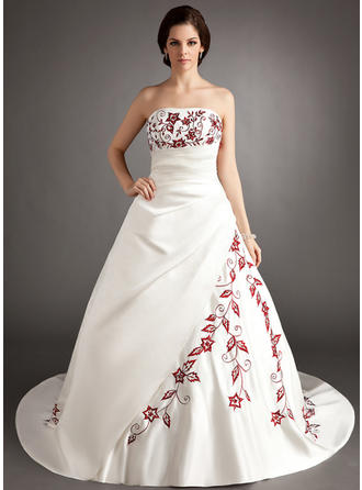 Chic Strapless A-Line/Princess Wedding Dresses Chapel Train Satin Sleeveless