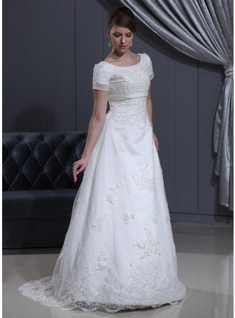 A-Line/Princess Scoop Neck Sweep Train Organza Wedding Dress With Beading Appliques Lace