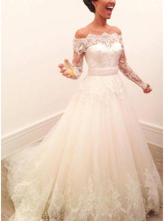 A-Line/Princess Off-The-Shoulder Sweep Train Wedding Dresses With Lace
