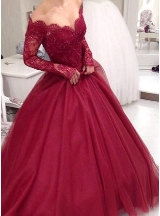 Ball-Gown V-neck Floor-Length Prom Dresses With Lace