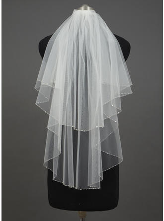 Elbow Bridal Veils Tulle Two-tier Angel cut/Waterfall With Sequin Trim Edge Wedding Veils