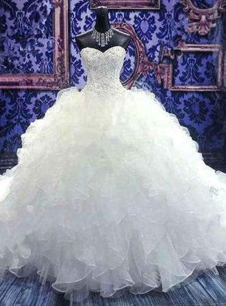 Ball-Gown Sweetheart Floor-Length Chapel Train Wedding Dresses With Beading Sequins