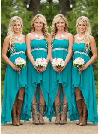 A-Line/Princess Sweetheart Asymmetrical Bridesmaid Dresses With Ruffle