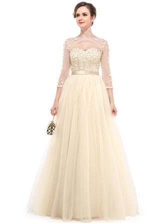 Ball-Gown Sweetheart Floor-Length Prom Dresses With Beading Flower(s)