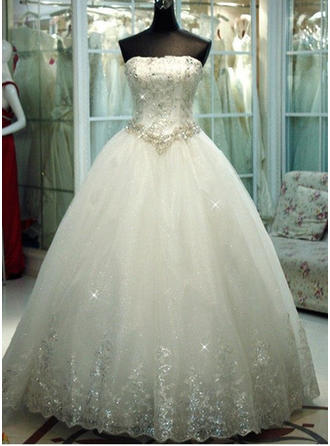 Ball-Gown Tulle Sleeveless Strapless Floor-Length Wedding Dresses