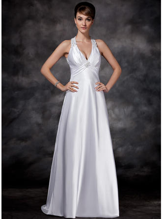 Sheath/Column Charmeuse Sleeveless Halter Sweep Train Wedding Dresses