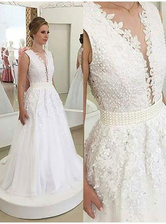 A-Line/Princess Tulle Sleeveless V-neck Sweep Train Wedding Dresses