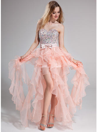 A-Line/Princess Sweetheart Floor-Length Prom Dresses With Beading Bow(s) Cascading Ruffles