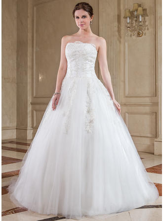 Simple Strapless Ball-Gown Wedding Dresses Chapel Train Tulle Sleeveless