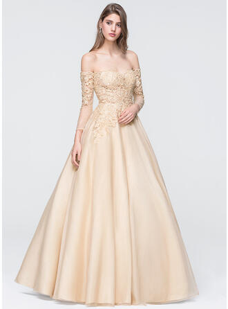 Ball-Gown Off-the-Shoulder Floor-Length Organza Prom Dresses With Beading Sequins