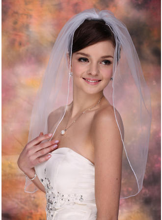 Elbow Bridal Veils Tulle One-tier Oval With Pencil Edge Wedding Veils