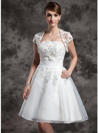 Delicate Strapless A-Line/Princess Wedding Dresses Knee-Length Organza Sleeveless
