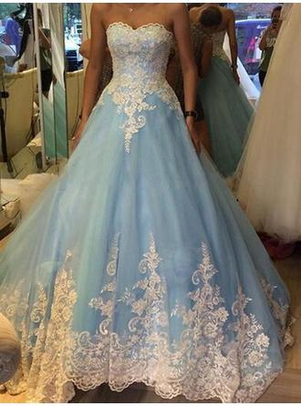 Ball-Gown Sweetheart Floor-Length Prom Dresses With Appliques