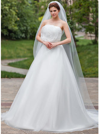 Chapel Bridal Veils Tulle One-tier Drop Veil With Pencil Edge Wedding Veils