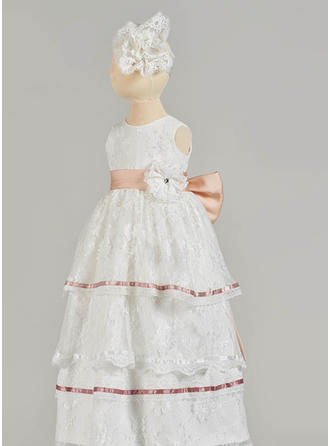 A-Line/Princess Scoop Neck Floor-length Lace Christening Gowns With Beading Bow(s)