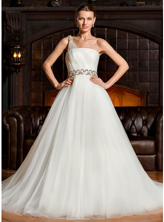 Modern One Shoulder Ball-Gown Wedding Dresses Chapel Train Tulle Sleeveless