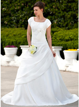 A-Line/Princess Taffeta Short Sleeves Square Court Train Wedding Dresses
