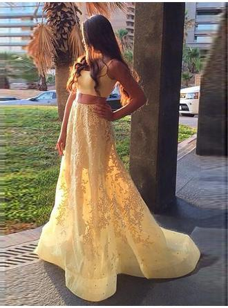 A-Line/Princess Satin Prom Dresses Appliques Lace Square Neckline Sleeveless Sweep Train Detachable