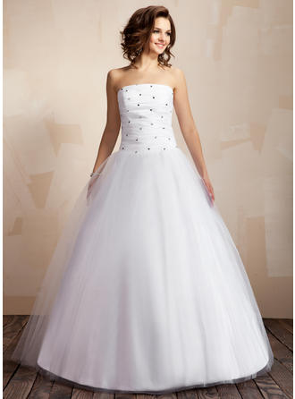 Ball-Gown Strapless Floor-Length Wedding Dresses With Ruffle Beading