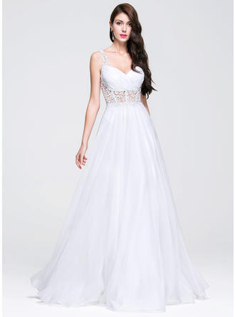 A-Line/Princess Sweetheart Floor-Length Chiffon Wedding Dress With Ruffle Beading Appliques Lace