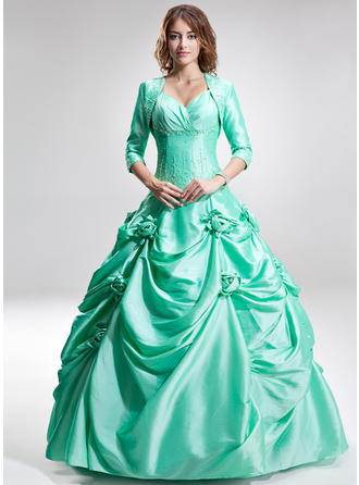 Ball-Gown Sweetheart Floor-Length Prom Dresses With Ruffle Beading Flower(s)