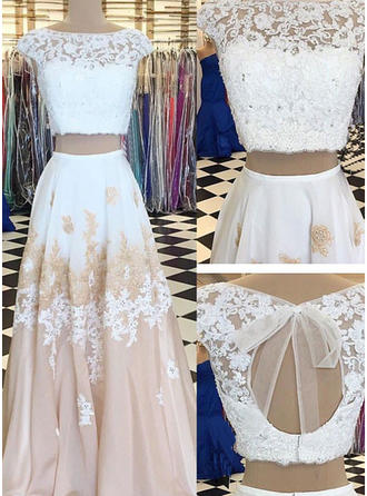 A-Line/Princess Chiffon Prom Dresses Lace Beading Appliques Lace Scoop Neck Sleeveless Floor-Length