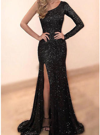 Beautiful Sequined Evening Dresses Trumpet/Mermaid Sweep Train One-Shoulder Long Sleeves